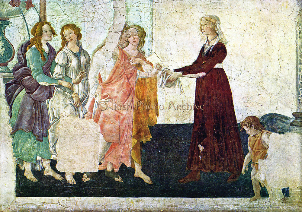 Sandro Botticelli (c. 1445 – 1510) Italian painter of the Florentine school during the Early Renaissance, ' 'Venus and the three graces presenting gifts to a young woman' 1483-85