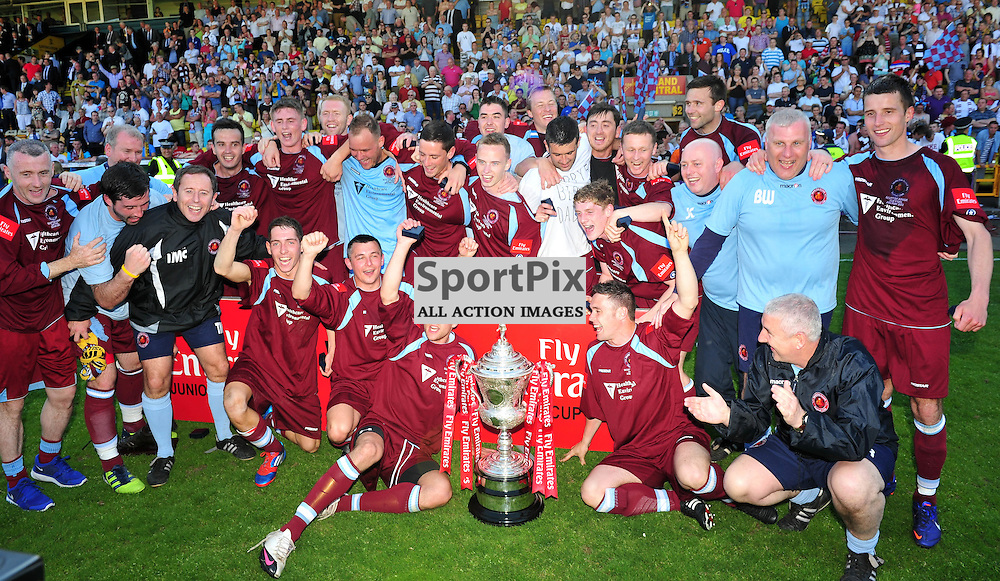 Shotts Bon Accord lift the cup..Auchinleck Talbot v Shotts Bon Accord, Emirates Junior Cup Final,  Sunday 27th May 2012..ALEX TODD | STOCKPIX.EU