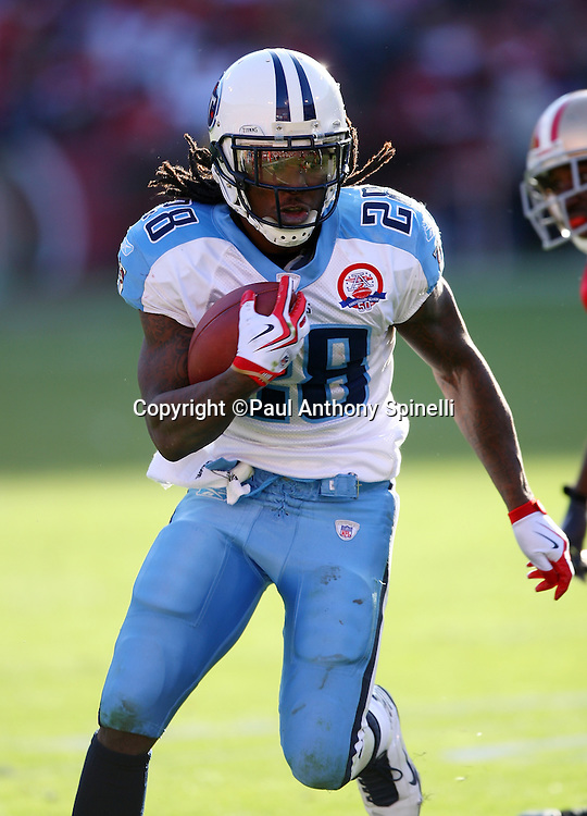 Tennessee Titans running back Chris Johnson (28) runs the ball in the third quarter during the NFL football game against the San Francisco 49ers, November 8, 2009 in San Francisco, California. The Titans won the game 34-27. (©Paul Anthony Spinelli)