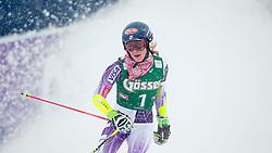 28.12.2014, Hohe Mut, Kühtai, AUT, FIS Ski Weltcup, Kühtai, Riesenslalom, Damen, 2. Durchgang, im Bild Mikaela Shiffrin (USA) // Mikaela Shiffrin of the USA reacts after 2nd run of Ladies Giant Slalom of the Kuehtai FIS Ski Alpine World Cup at the Hohe Mut Course in Kuehtai, Austria on 2014/12/28. EXPA Pictures © 2014, PhotoCredit: EXPA/ JFK