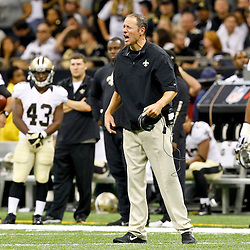 September 23, 2012; New Orleans, LA, USA; New Orleans Saints interim head coach Aaron Kromer during the fourth quarter of a game against the Kansas City Chiefs at the Mercedes-Benz Superdome. The Chiefs defeated the Saints 27-24 in overtime. Mandatory Credit: Derick E. Hingle-US PRESSWIRE