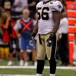 September 9, 2010; New Orleans, LA, USA;  New Orleans Saints linebacker Jo-Lonn Dunbar (56) on the field during the NFL Kickoff season opener at the Louisiana Superdome. The New Orleans Saints defeated the Minnesota Vikings 14-9.  Mandatory Credit: Derick E. Hingle
