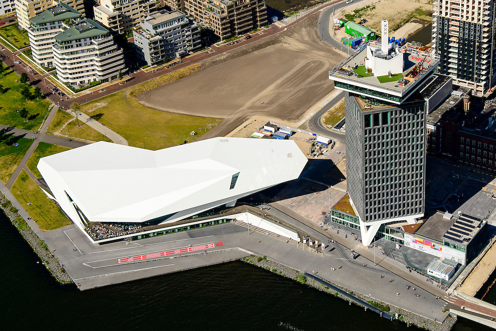 Nederland, Noord-Holland, Amsterdam-Noord, 01-08-2016; IJ-oevers, Overhoeks met A'DAM Toren (voormalige Shell-toren) en Eye filmmuseum,.<br /> Banks of IJ and Overhoeks with A'DAM Tower (former Shell Tower) and Eye Film Museum.<br /> <br /> luchtfoto (toeslag op standard tarieven);<br /> aerial photo (additional fee required);<br /> copyright foto/photo Siebe Swart
