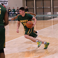 1st year guard Brayden Kuski (15) of the Regina Cougars in action during the Men's Basketball home game on January  20 at Centre for Kinesiology, Health and Sport. Credit: /Arthur Images
