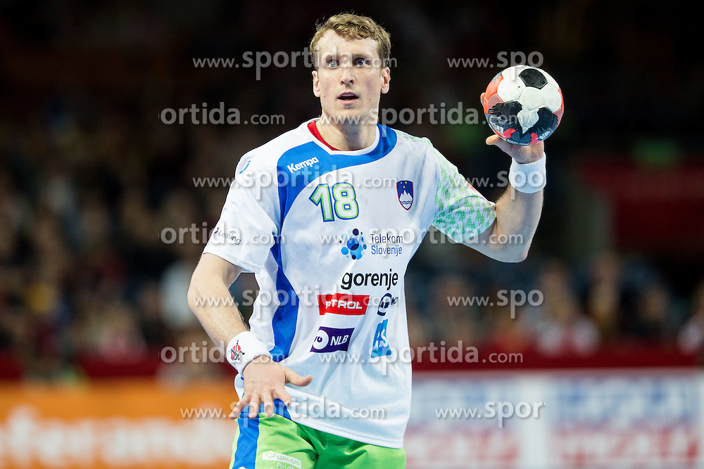 David Miklavcic of Slovenia during handball match between National teams of Germany and Slovenia on Day 6 in Preliminary Round of Men's EHF EURO 2016, on January 20, 2016 in Centennial Hall, Wroclaw, Poland. Photo by Vid Ponikvar / Sportida