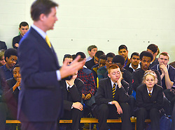 © Licensed to London News Pictures. 27/02/2014. London, UK. Students listen during the speech.  Deputy Prime Minister and Leader of the Liberal Democrats Nick Clegg delivers a speech today, 27th February 2014, on how all young people will be helped to succeed after leaving school. He was speaking to over 500 students at Southfields Academy in South West London. Photo credit : Stephen Simpson/LNP