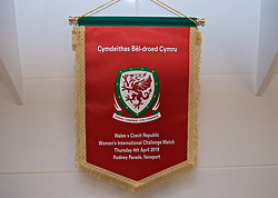 NEWPORT, WALES - Thursday, April 4, 2019: The official Wales match pennant pictured in the dressing room before an International Friendly match between Wales and Czech Republic at Rodney Parade. (Pic by David Rawcliffe/Propaganda)