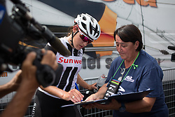 Lucinda Brand (NED) of Team Sunweb signs the doping control form after Stage 8 of the Giro Rosa - a 141.8 km road race, between Baronissi and Centola fraz. Palinuro on July 7, 2017, in Salerno, Italy. (Photo by Balint Hamvas/Velofocus.com)