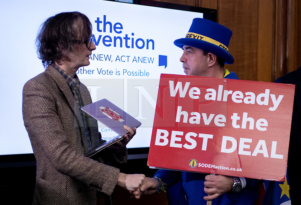 © Licensed to London News Pictures. 11/01/2019. London, UK. Musician Jarvis Cocker meets anti-Brexit campaigner Steve Bray at a convention for second EU referendum, organised by 'Another Vote is Possible', a pro-EU organisation. MPs are currently debating British Prime Minister Theresa May's EU withdrawal deal, with a vote on the deal due to take place on 15th January. Photo credit : Tom Nicholson/LNP