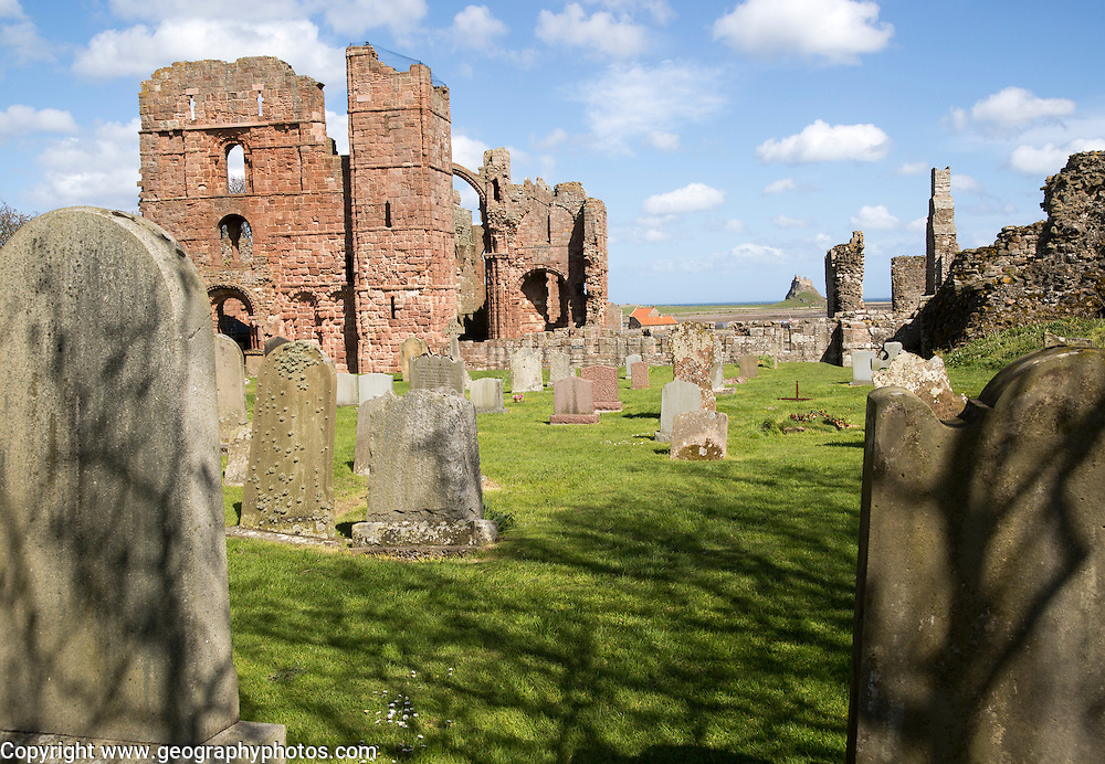 Ruins of Lindisfarne Priory, Holy Island, Northumberland, England, UK