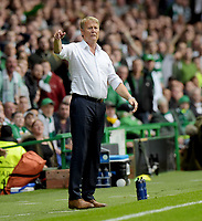 19/08/15 UEFA CHAMPIONS LEAGUE PLAY-OFF 1ST LEG<br /> CELTIC V MALMO<br /> CELTIC PARK - GLASGOW<br /> Malmo manager Age Hareide in the dugout.