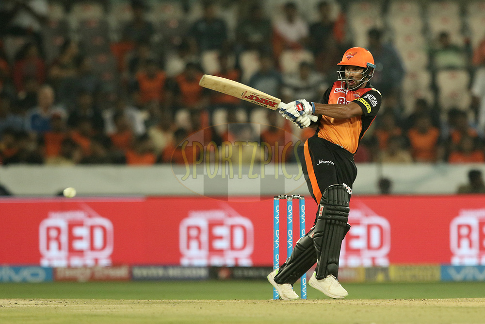 Shikhar Dhawan of the Sunrisers Hyderabad during match four of the Vivo Indian Premier League 2018 (IPL 2018) between the Sunrisers Hyderabad and the Rajasthan Royals Bangalore held at the Rajiv Gandhi International Cricket Stadium in Hyderabad on the 9th April 2018.<br /> <br /> Photo by Saikat Das / IPL/ SPORTZPICS