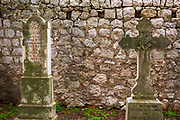 Graves in the cemetery at St Stephen Church, Zaton, Dalmatian Coast, Croatia