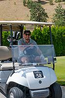 KELOWNA, CANADA - JULY 21: Alumni Justin Kirkland drives a golf cart at the Kelowna Rockets Alumni golf tournament at Black Mountain Golf Club in Kelowna, British Columbia, Canada.  (Photo by Marissa Baecker/Shoot the Breeze)  *** Local Caption ***