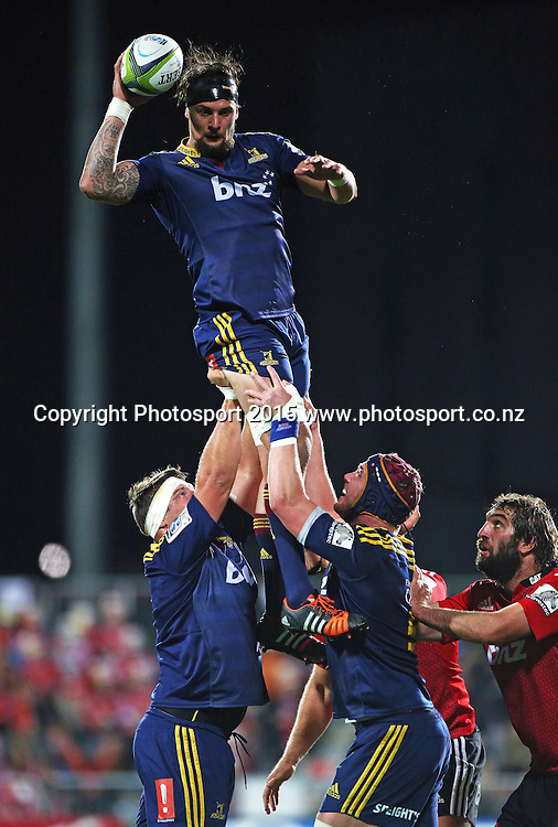 Elliot Dixon of the Highlanders wins a lineout during the Investec Super Rugby game between the Crusaders v Highlanders at AMI Stadium i Christchurch. 11 April 2015 Photo: Joseph Johnson/www.photosport.co.nz