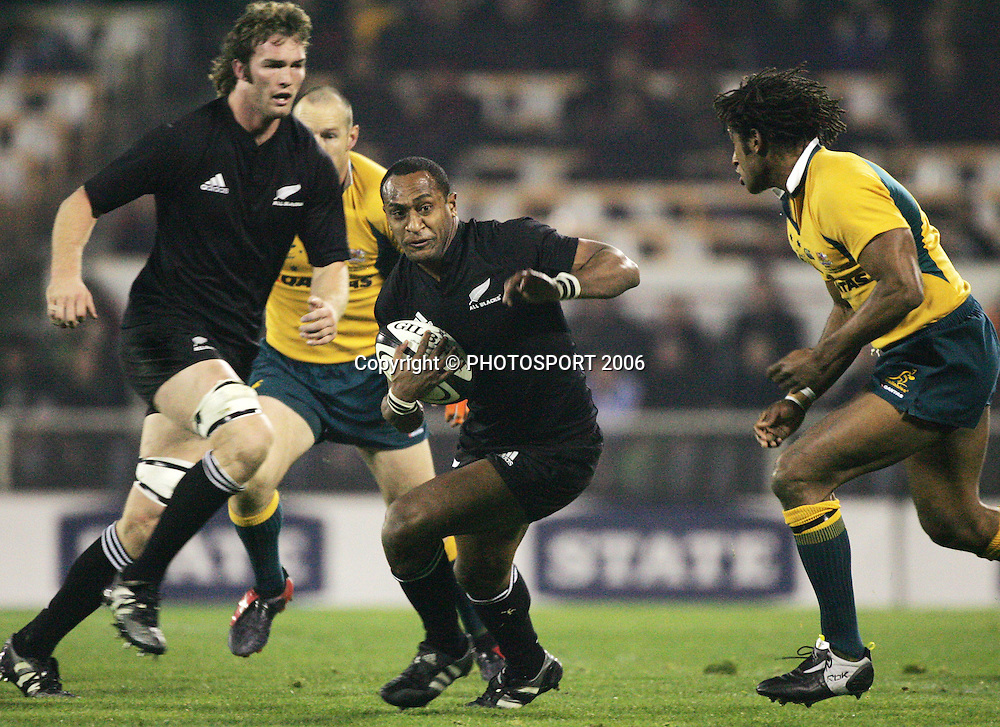 All Blacks winger Joe Rokocoko makes a break during the first Tri Nations rugby union match between the New Zealand All Blacks and Australian Wallabies at Jade Stadium, Christchurch, New Zealand on Saturday 8 July, 2006. The All Blacks won the match 32 - 12. Photo: Andrew Cornaga/PHOTOSPORT