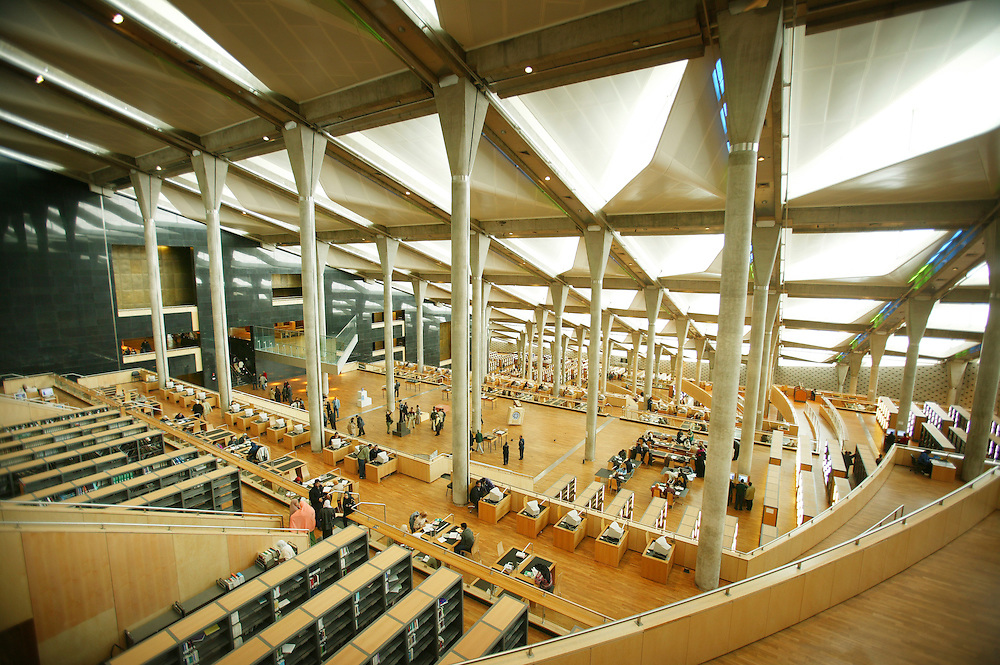 Biblioteket i Alexandria, tegnet av det norske arkitektfirmaet Snøhetta.