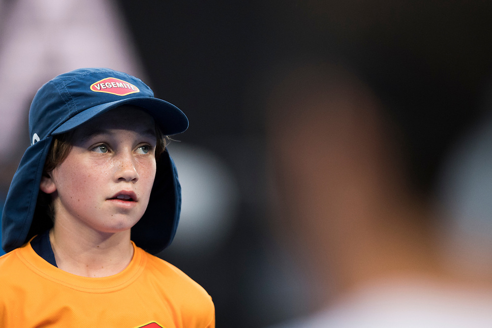 A ball kid on day ten of the 2018 Australian Open in Melbourne Australia on Wednesday January 24, 2018.<br /> (Ben Solomon/Tennis Australia)
