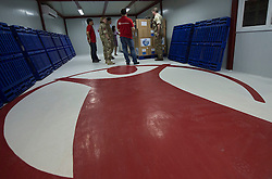 Image shows soldiers from 77 Brigade meeting representatives from Save The Children and inspecting the charity's disaster relief supplies at their depot in Manila.<br /> 27/04/2015.<br /> <br /> Credit should read: Cpl Mark Larner RY<br /> <br /> Exercise Civil Bridge is being conducted by elements of 77 Brigade &ndash; a specialist British military unit that is working alongside the government and disaster relief organisations as part of an annual overseas training exercise. <br /> <br /> Their mission during the two-week deployment will be to look at examples of the existing Philippine earthquake contingency response plans and, working with Philippine colleagues, make suggestions that will help save lives by enhancing the country&rsquo;s ability to respond to an earthquake in an urban setting.
