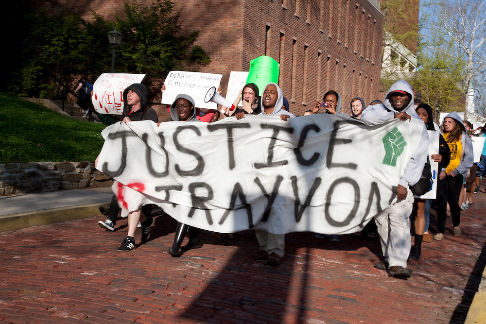 Protesters march through campus after the rally for Treyvon Martin, 2012