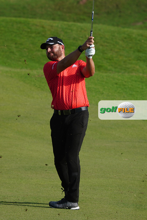 Jordan Smith (ENG) on the 18th during Round 4 of the Oman Open 2020 at the Al Mouj Golf Club, Muscat, Oman . 01/03/2020<br /> Picture: Golffile | Thos Caffrey<br /> <br /> <br /> All photo usage must carry mandatory copyright credit (© Golffile | Thos Caffrey)