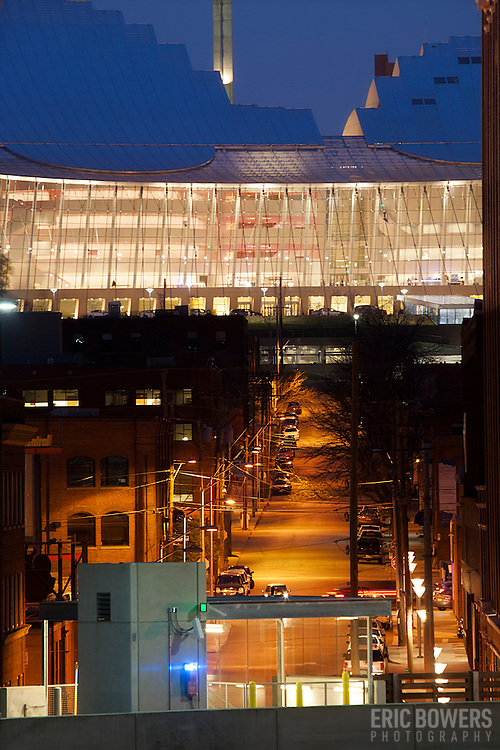 Downtown Kansas City's Kauffman Center for the Performing Arts, looking north up Central Street from Union Station parking garage at dusk.