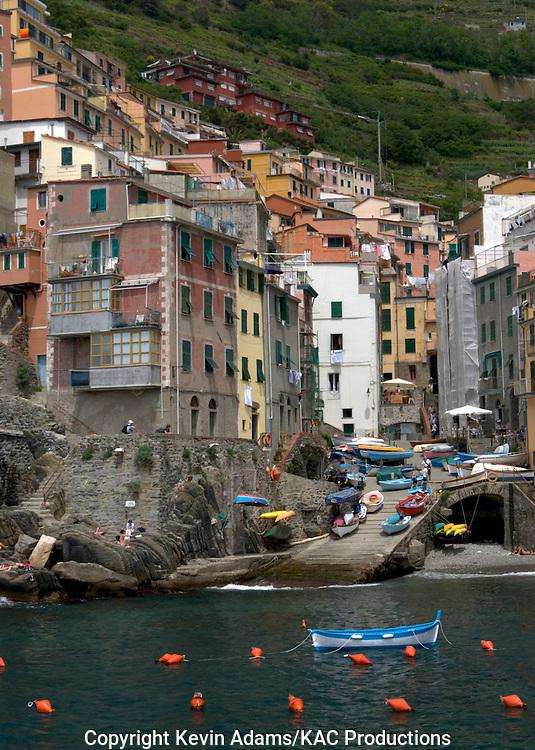 38_03_02_04281.Riomaggiore, Italy, one of the Cinque Terre villages on the Italian Riviera of the Ligurian Sea.