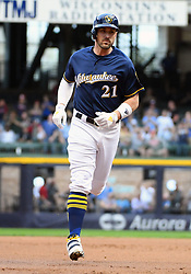 May 8, 2018 - Milwaukee, WI, U.S. - MILWAUKEE, WI - MAY 08: Milwaukee Brewers Third base Travis Shaw (21) rounds the bases after hitting a 2-run home run in the bottom of the 1st during a MLB game between the Milwaukee Brewers and Cleveland Indians on May 8, 2018 at Miller Park in Milwaukee, WI.(Photo by Nick Wosika/Icon Sportswire) (Credit Image: © Nick Wosika/Icon SMI via ZUMA Press)