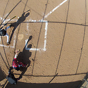 An overhead view of the batters box during the High School Baseball ball game between Trumbull Golden Eagles and McMahon Senators at Brien McMahon High School. Norwalk, Connecticut. USA. 26th April 2012. Photo Tim Clayton