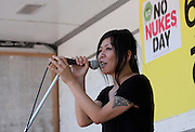 Anti nuclear activist, Misao  Redwolf speaks at an anti-nuclear protest in Shiba Park, Minato ward, Tokyo, Japan Sunday June 2nd 2013