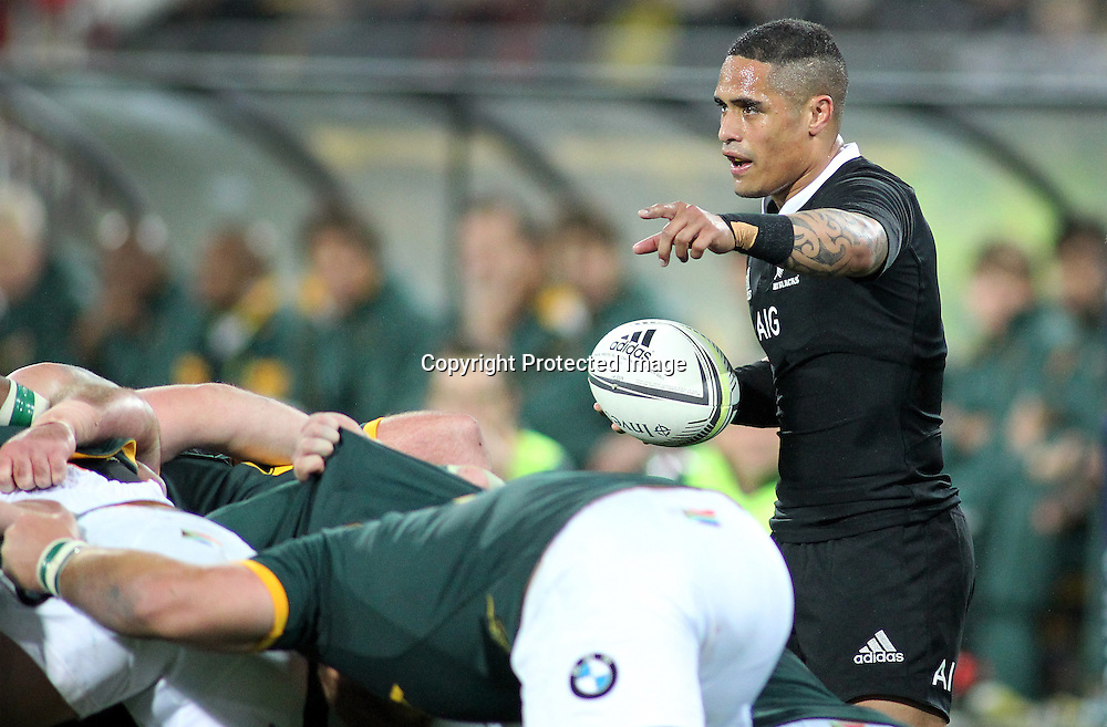 All Blacks' Aaron Smith prepares to feed a scrum. New Zealand All Blacks V South Africa.The Rugby Championship. Rugby Union Test Match. Westpac Stadium, Wellington. 13 September 2014. Photo.: Grant Down / www.photosport.co.nz