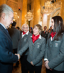 29.01.2014, Hofburg, Wien, AUT, Sochi 2014, Vereidigung OeOC, im Bild Bundespräsident Heinz Fischer, Daniela Iraschko-Stolz, Nicole Schmidhofer, Cornelia Hütter // Austrians President Heinz Fischer, Daniela Iraschko-Stolz, Nicole Schmidhofer, Cornelia Hütter during the swearing-in of the Austrian National Olympic Committee for Sochi 2014 at the  Hofburg in Vienna, Austria on 2014/01/29. EXPA Pictures © 2014, PhotoCredit: EXPA/ JFK