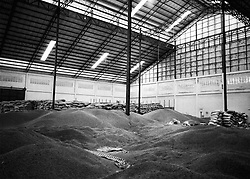 Large warehouse where coffee beans wait to be packed in hessian bags. Packsong, Laos, Asia