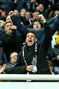 A Newcastle United supporter celebrates after VAR confirms Newcastle United's first goal (1-1) scored by DeAndre Yedlin (#22) of Newcastle United during the Premier League match between Newcastle United and Bournemouth at St. James's Park, Newcastle, England on 9 November 2019.