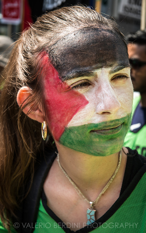 Stop the massacre in gaza. Tenths of thousands of people march the streets of Central london to ask the end of Israeli invasion of Gaza. 26 July 2014