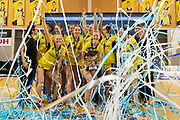 The Pulse celebrate winning the ANZ Premiership Trophy during the ANZ Premiership Grand Final netball match between the Pulse vs Stars at Te Rauparaha Arena in Wellington on Monday the 3rd of June 2019. Copyright Photo by Marty Melville / www.Photosport.nz