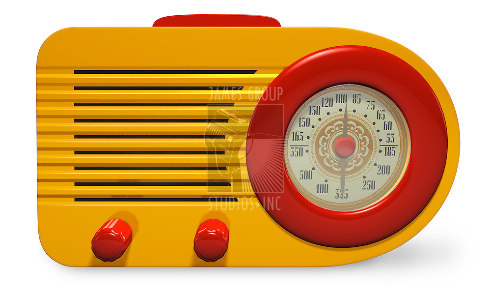 Yellow and Red plastic vintage radio orthographic on white background