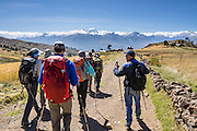 For a good view of the Cordillera Blanca and a good acclimatization outing, bus to Callan Punta (a 4225-meter pass in the Cordillera Negra) then hike 14 km (9 miles) down to Huaraz, in the Andes Mountains, Peru, South America.