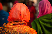 Woman in red sari (India)