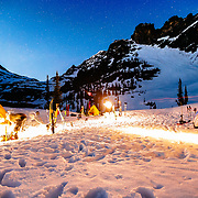Basecamp activities after dark in Glacier National Park.