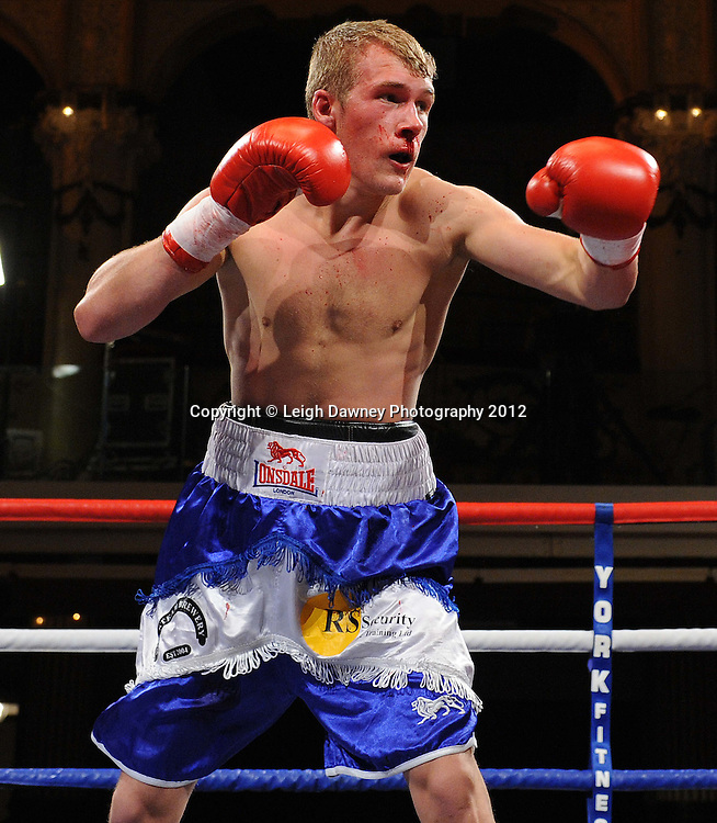 Karl Place defeats Dan Blackwell (pictured)in a Light Welterweight contest at The Winter Gardens, Blackpool on the 31st March 2012. Frank Maloney and Steve Wood VIP Promotions. © Leigh Dawney Photography 2012.