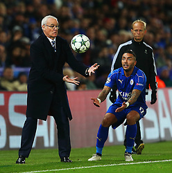 Leicester City manager Claudio Ranieri catches the ball with Danny Simpson - Mandatory by-line: Matt McNulty/JMP - 22/11/2016 - FOOTBALL - King Power Stadium - Leicester, England - Leicester City v Club Brugge - UEFA Champions League