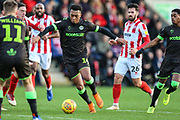 Forest Green Rovers Tahvon Campbell(14) on the ball during the EFL Sky Bet League 2 match between Cheltenham Town and Forest Green Rovers at Jonny Rocks Stadium, Cheltenham, England on 29 December 2018.