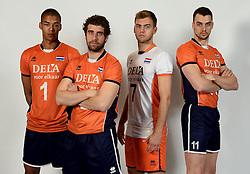 13-05-2014 NED: Selectie Nederlands volleybal team mannen, Arnhem<br /> Op Papendal werd het Nederlands team volleybal seizoen 2014-2015 gepresenteerd / (L-R0 Nimir Abdelaziz , Yannick van Harskamp, Gijs Jorna, Dick Kooy