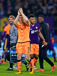 MARIBOR, SLOVENIA - Tuesday, October 17, 2017: Liverpool's James Milner applauds the supporters after the 7-0 victory during the UEFA Champions League Group E match between NK Maribor and Liverpool at the Stadion Ljudski vrt. (Pic by David Rawcliffe/Propaganda)