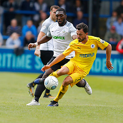 SEPTEMBER 1y6:  Dover Athletic against Chester FC in Conference Premier at Crabble Stadium in Dover, England. Doveer ran out emphatic winners 4 goal to nothing. Chester's Craig Mahon keeps Dover's defender Femi Ilesanmi at bay. (Photo by Matt Bristow/mattbristow.net)