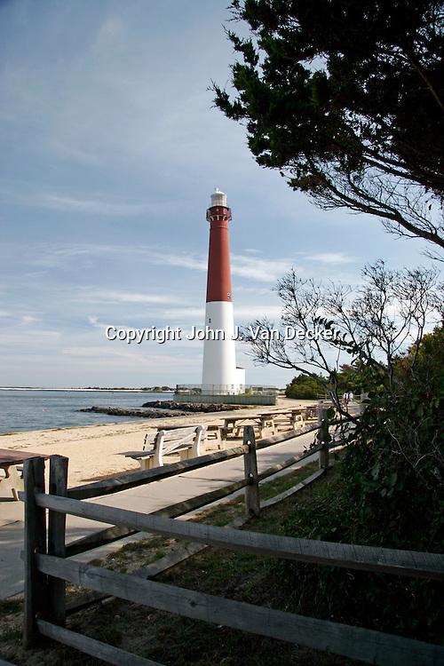 Barnegat Bay Lighthouse looking from picnic grove. Long Beach Island, NJ scenic