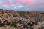 I've seen pictures taken from this arch above Bighorn Canyon, but I've never been able to locate it until now. And it's not too difficult to reach. Compositions are limited because of the way the arch is set against the cliff and you can't get very far back. Just as I started to leave, the sky unexpectedly took on a pink glow and I ran back to the arch to capture the color before it faded away.