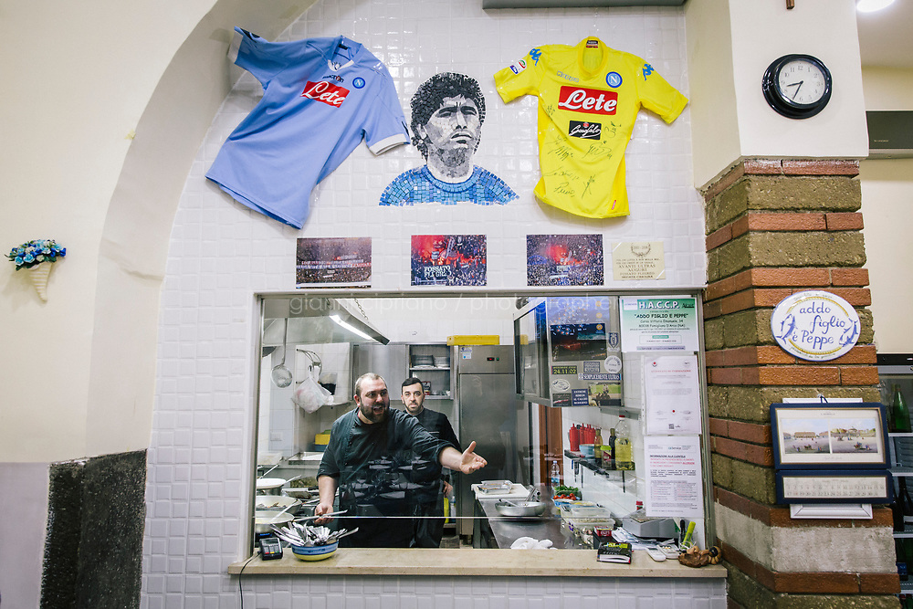 POMIGLIANO D'ARCO, ITALY - 6 MARCH 2018: The chef of &quot;Addo Figlio &egrave; Peppe&quot; restaurant, who claims to personally know the leader of the Five Star Movement Luigi Di Maio, is seen here shortly before the start of the celebration for the victory of Luigi Di Maio in the 2018 General Elections, in his hometown in Pomigliano D'Arco, Italy, on March 6th 2018.<br /> <br /> The Five-Star Movement, became the first party in Italy, with 33 percent of the vote.