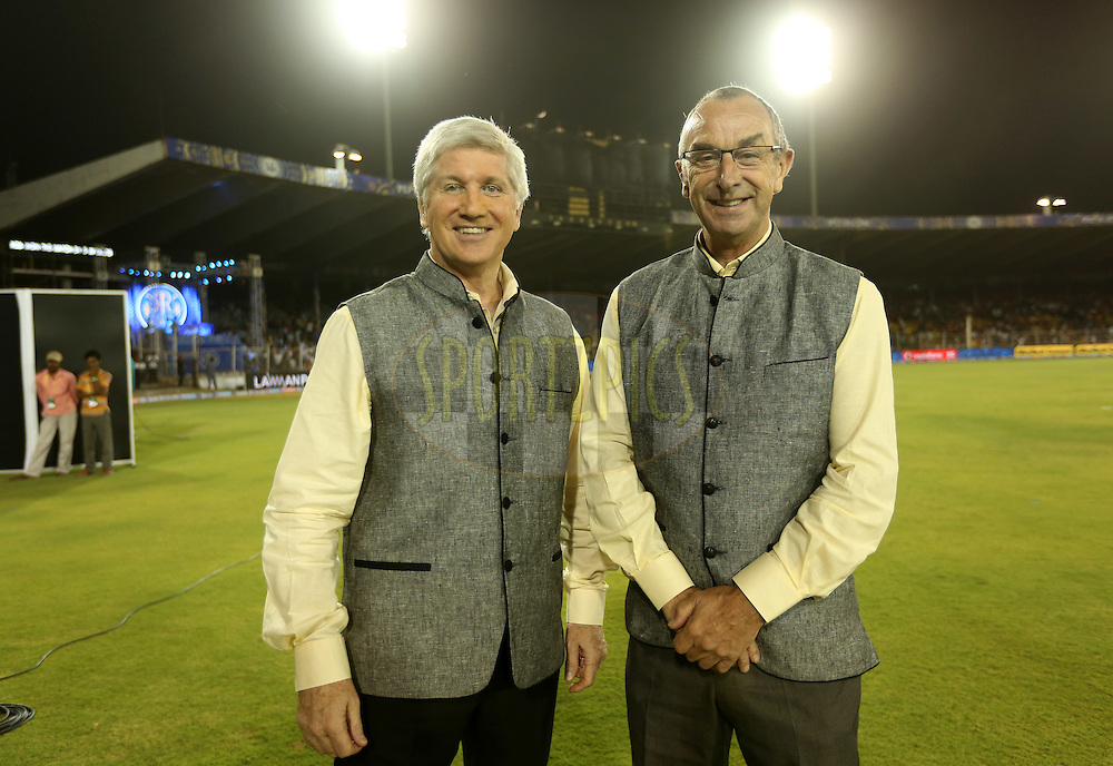 Commentrators Alan Wilkins and David Lloyd during match 22 of the Pepsi IPL 2015 (Indian Premier League) between The Rajasthan Royals and The Royal Challengers Bangalore held at the Sardar Patel Stadium in Ahmedabad , India on the 24th April 2015.<br /> <br /> Photo by:  Sandeep Shetty / SPORTZPICS / IPL